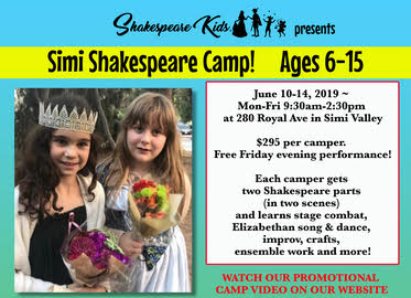 One Week of Shakespeare Kids Performance Camp in Simi Valley Just $145! Camp Runs One Week Only June 10th-14th! (Value $295) Free Show on Friday!